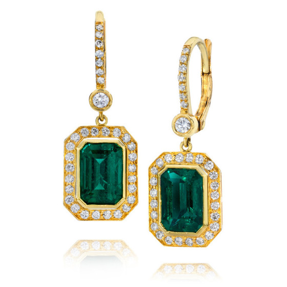 emerald & diamond earrings by: Jeffrey Daniels